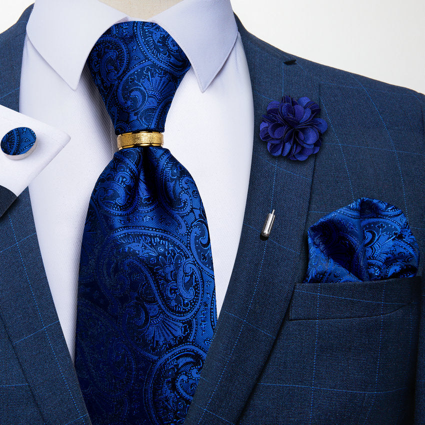 5PCS Blue Paisley Tie Pocket Square Cufflinks with Tie Ring Lapel Pin Set