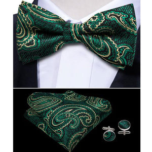 Green Yellow Paisley Bowtie Pocket Square Cufflinks Set