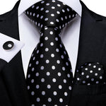 Black White Polka Dot Tie Handkerchief Cufflinks Set