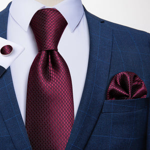 Load image into Gallery viewer, Maroon Geometric Tie Pocket Square Cufflinks Set (586489724970)