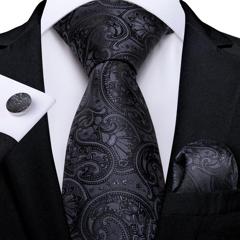 Black Paisley Tie Pocket Square Cufflinks Set