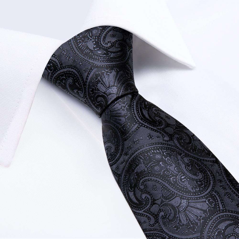 Load image into Gallery viewer, Black Paisley Tie Pocket Square Cufflinks Set (449814855722)