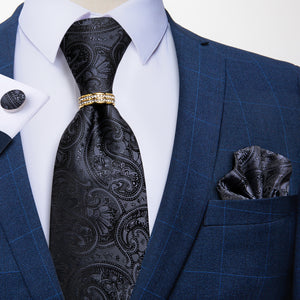 Load image into Gallery viewer, 4PCS Black Paisley Silk Men's Tie Pocket Square Cufflinks with Tie Ring Set
