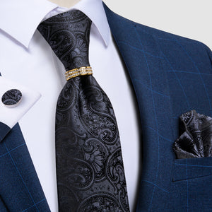 4PCS Black Paisley Silk Men's Tie Pocket Square Cufflinks with Tie Ring Set
