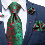 Green Red Paisely Silk Men's Necktie Handkerchief Cufflinks Set With Lapel Pin Brooch Set