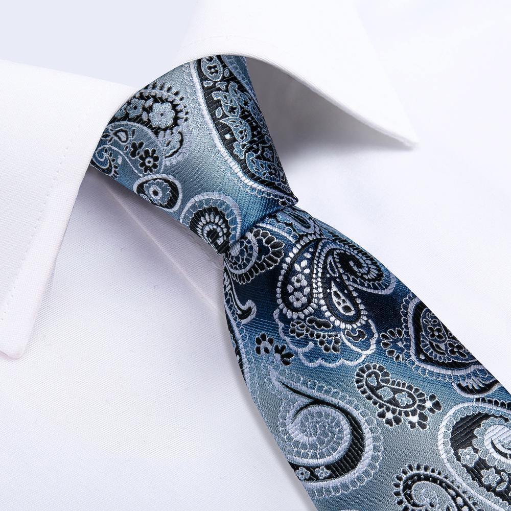 Luxury Shining Blue Paisley Tie Handkerchief Cufflinks Set