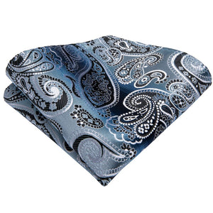 Load image into Gallery viewer, Luxury Shining Blue Paisley Tie Handkerchief Cufflinks Set