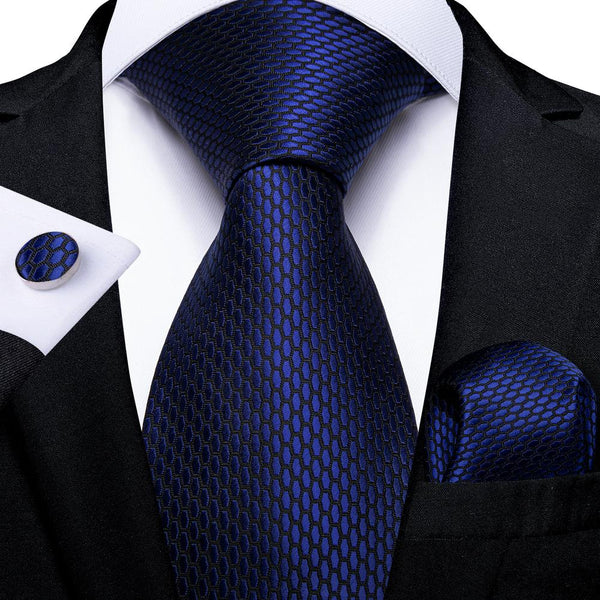 Shining Navy Blue Geometric Tie Handkerchief Cufflinks Set