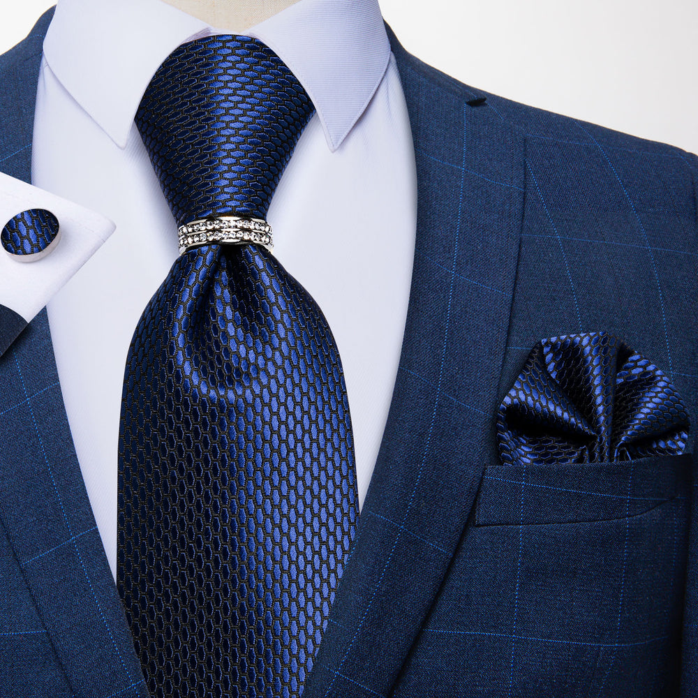 4PCS Blue Geometric Tie Pocket Square Cufflinks with Tie Ring Set