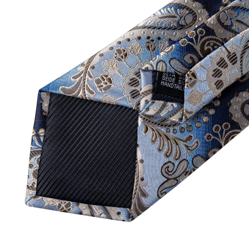 Blue Brown Paisley Tie Hanky  Cufflinks Set (586692362282)