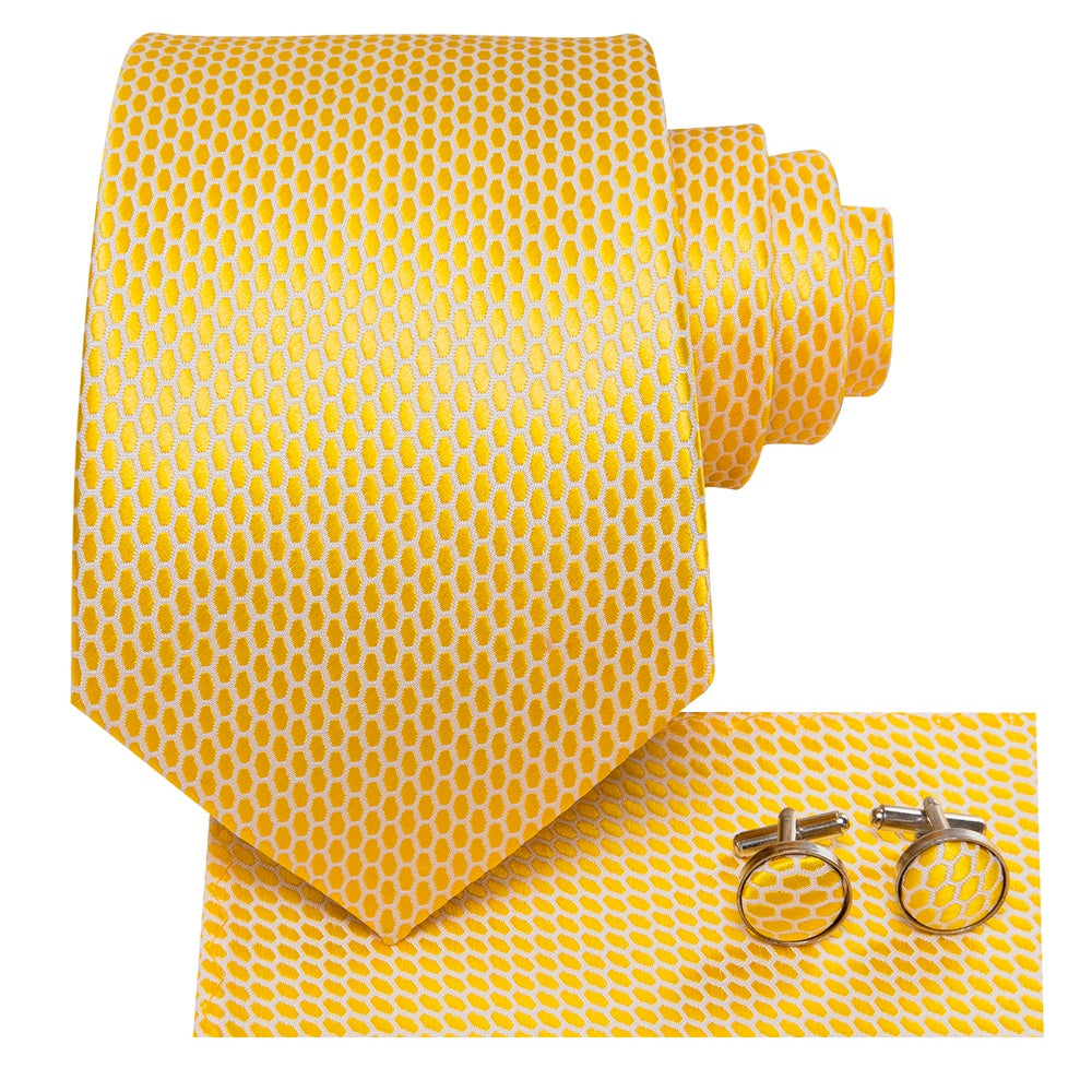 Load image into Gallery viewer, New Shining Yellow Geometric Tie Pocket Square Cufflinks Set