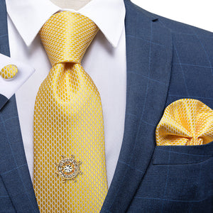 Load image into Gallery viewer, Yellow White Plaid  Men's Tie Handkerchief Cufflinks Set with Tie Tack (4701431988305)