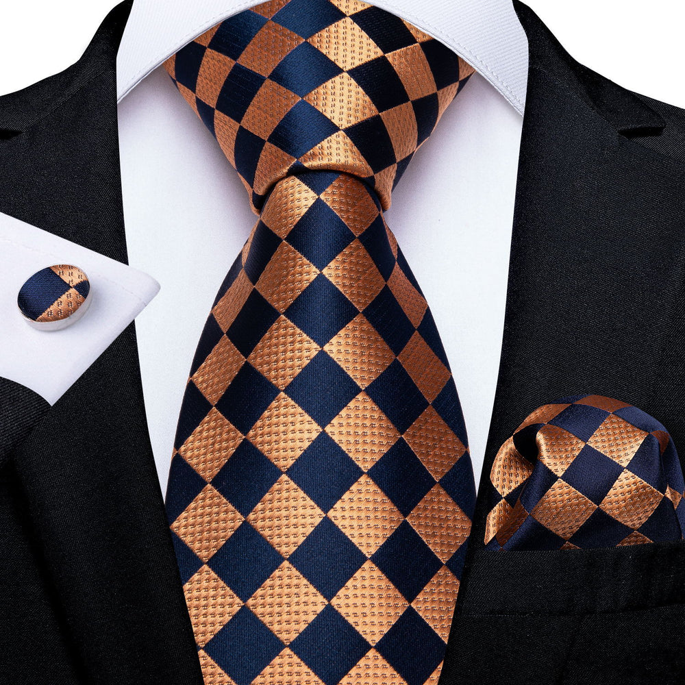 Tasty Orange Black Plaid Tie Handkerchief Cufflinks Set