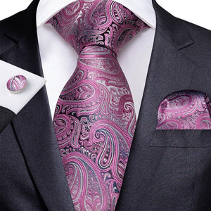 Load image into Gallery viewer, Lovely Pink Paisley Tie Handkerchief Cufflinks Set (587019419690)