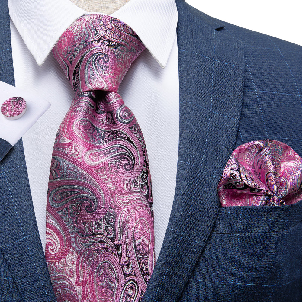 Luxury Pink Paisley Men's Tie Handkerchief Cufflinks Set with Tie Tack