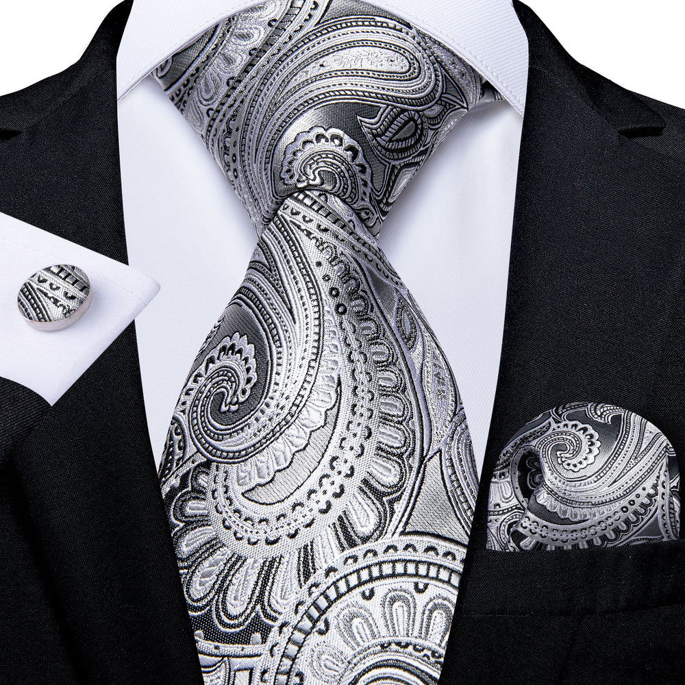 Load image into Gallery viewer, White Gray Paisley Tie Pocket Square Cufflinks Set