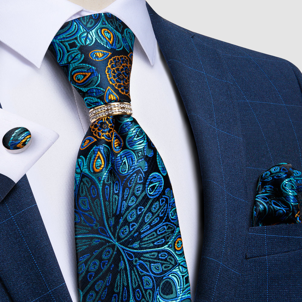 Load image into Gallery viewer, Blue Paisley Silk Men's Tie Ring Handkerchief Cufflinks Set