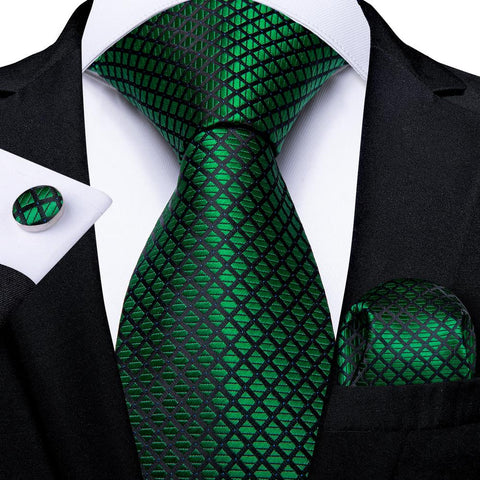 Green Plaid Tie Handkerchief Cufflinks Set