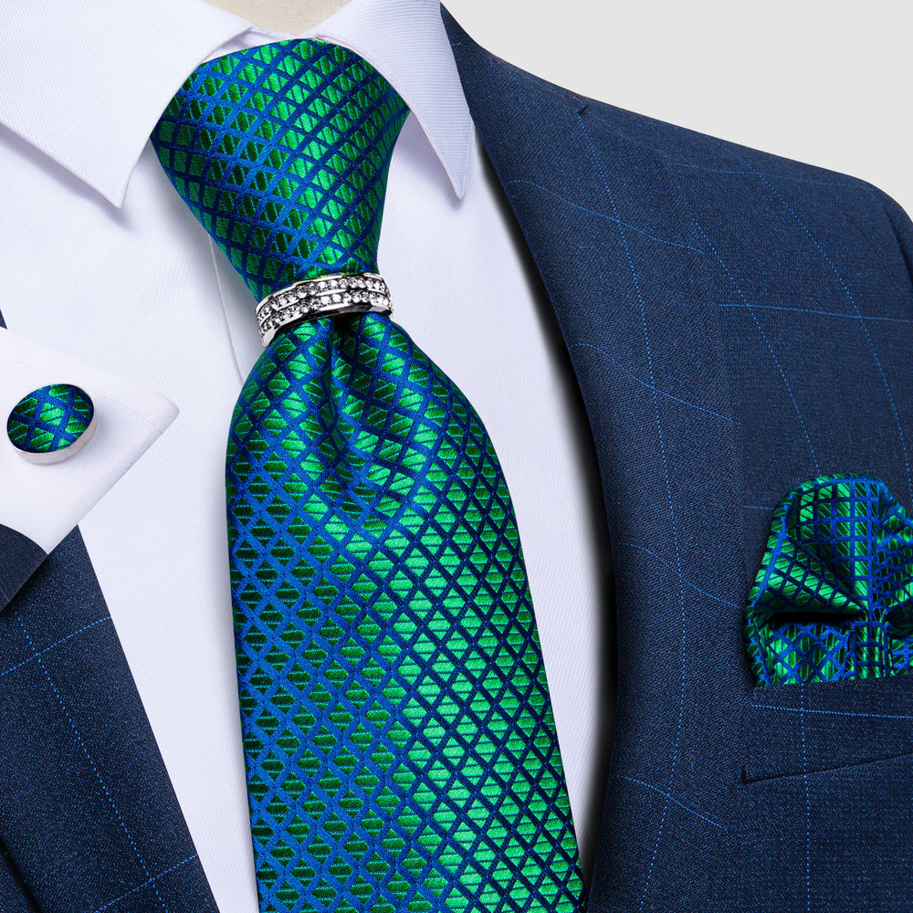 Load image into Gallery viewer, 4PCS Teal Blue Plaid Silk Men's Tie Pocket Square Cufflinks with Tie Ring Set