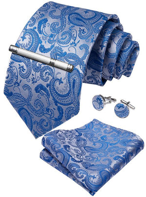 Load image into Gallery viewer, Pale Blue Paisley Men's Tie Handkerchief Cufflinks Clip Set