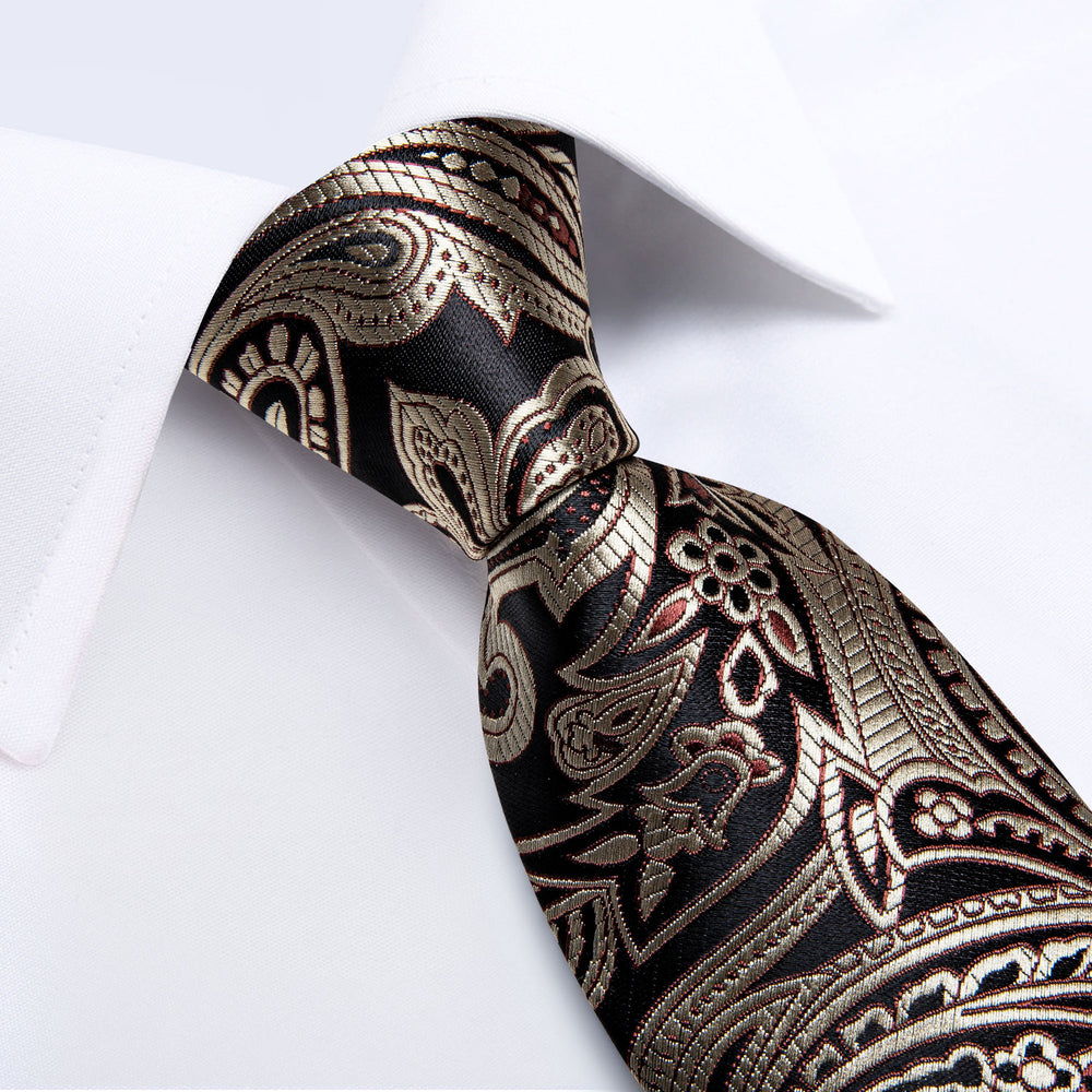 Luxury Brown Business Paisley Necktie Pocket Square Cufflinks Set
