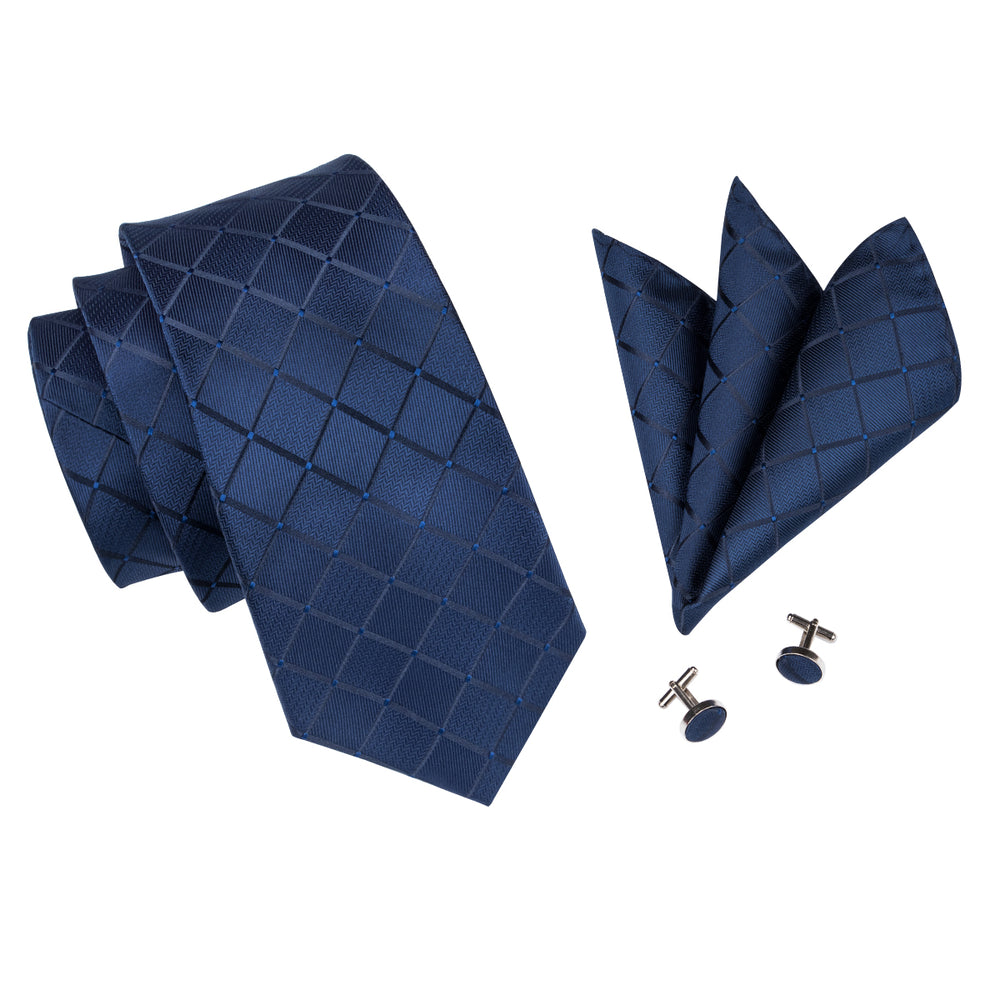Load image into Gallery viewer, Top Plaid Blue Tie Handkerchief Cufflinks Set