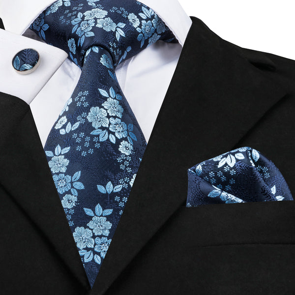 Stylish Blue Floral Design Tie Set