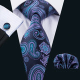 Royal Blue Paisley Silk Tie Hanky Cufflinks Set