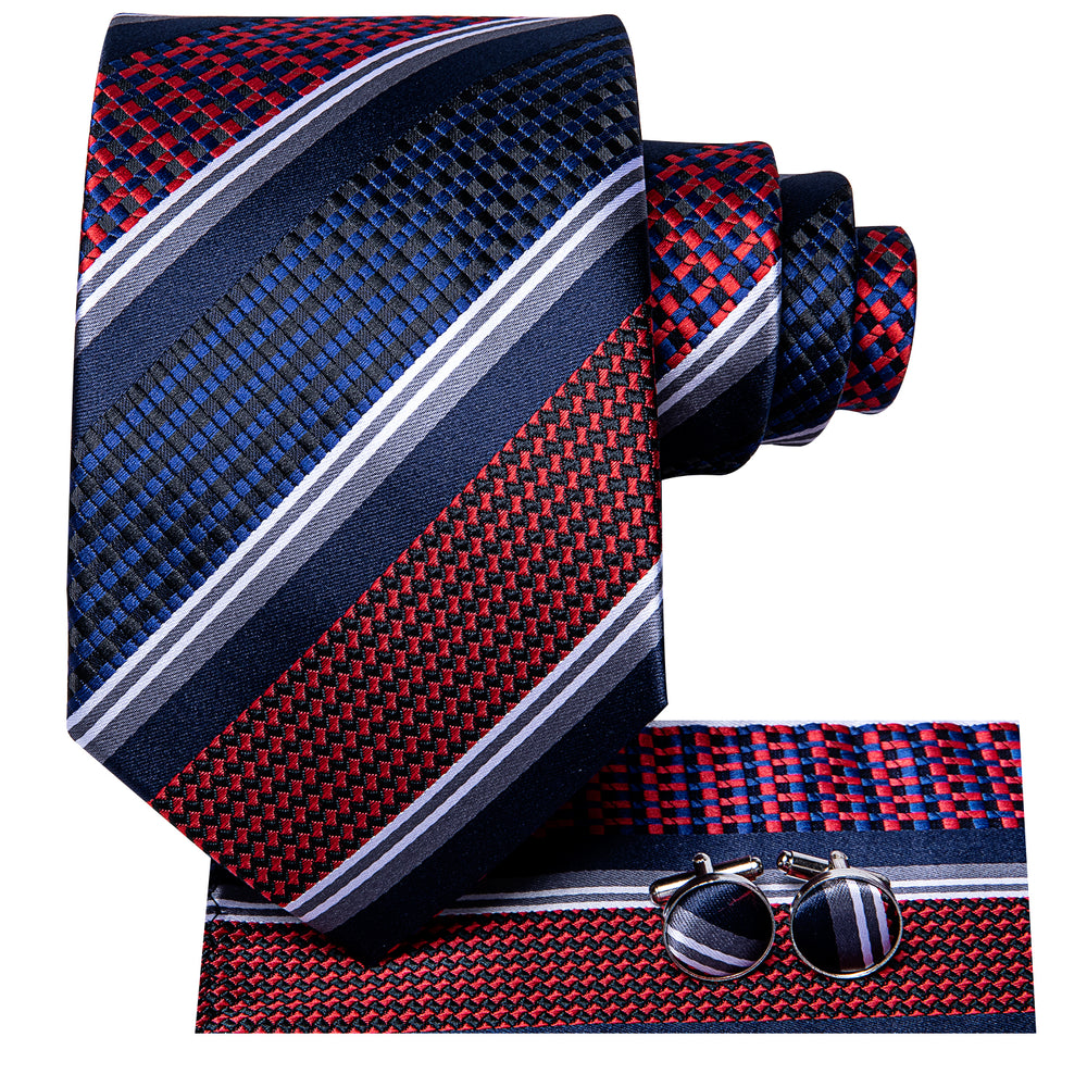 Load image into Gallery viewer, Gorgeous Blue Red Striped Tie Hanky Cufflinks Set