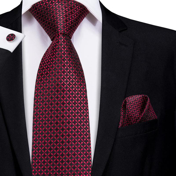 Attractive Men's Red Black Plaid Tie Pocket Square Cufflinks Set