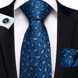 Blue Black Paisley Men's Tie Handkerchief Cufflinks Set