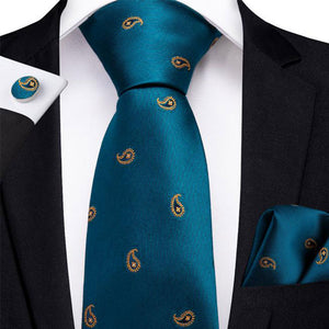 Navy Blue Yellow Paisley Men's Tie Handkerchief Cufflinks Set