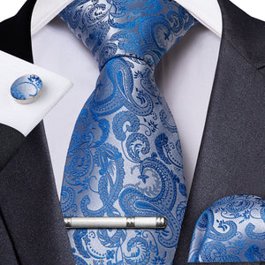Load image into Gallery viewer, Pale Blue Paisley Men's Tie Handkerchief Cufflinks Clip Set (4297705750609)