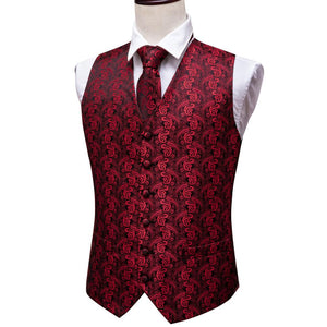 Load image into Gallery viewer, Maroon Red Paisley Jacquard Silk Waistcoat Vest Handkerchief Cufflinks Tie Vest Suit Set (3830226321450)