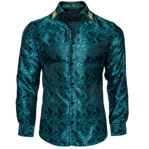 Load image into Gallery viewer, Green Paisley Men's Shirt with Collar pin