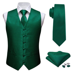 Load image into Gallery viewer, Green Black Plaid Jacquard Silk Waistcoat Vest Handkerchief Cufflinks Tie Vest Suit Set (3830228844586)