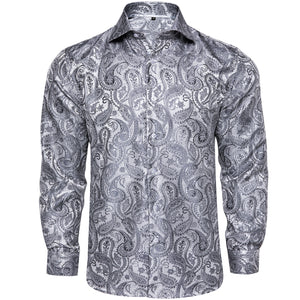 Load image into Gallery viewer, Grey Paisley Men's Shirt (4669228122193)
