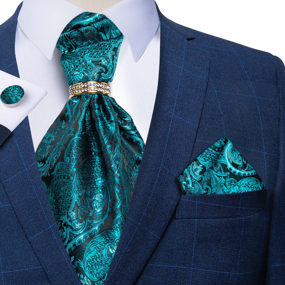 Turquoise Floral Silk Cravat Woven Ascot Tie Pocket Square Cufflinks With Tie Ring Set