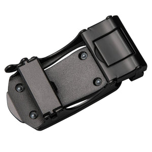 Classic Black Grey Metal Automatic Buckle Black Leather Belt