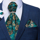 Green Paisley Silk Cravat Ascot Tie Ring Pocket Square Cufflinks Set