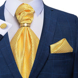 Yellow Plaid Silk Cravat Ascot Tie Ring Pocket Square Cufflinks Set