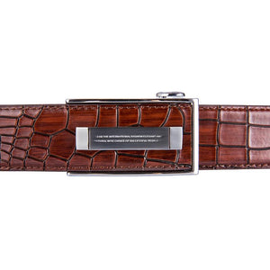 Simple Silver Automatic Buckle Brown Leather Belt (4667786231889)