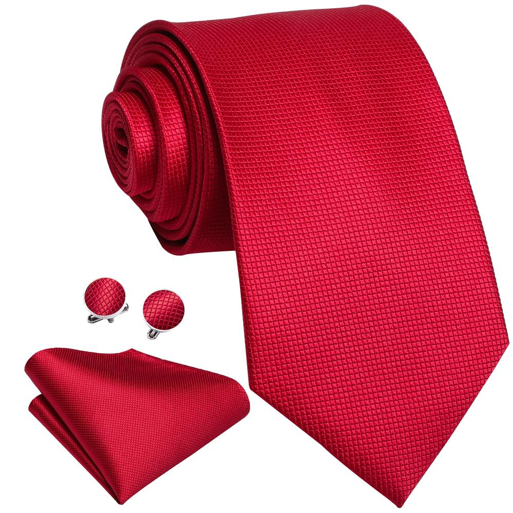 Red Solid Men's Silk 4PCS Tie Pocket Square Cufflinks with Tie Ring Set (4615347175505)