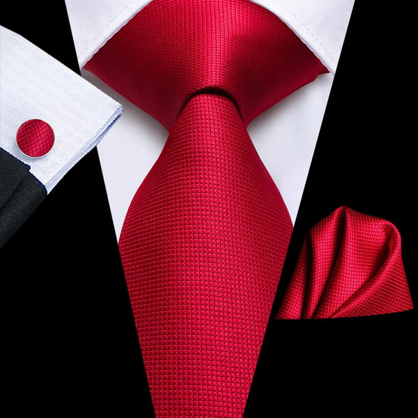Sharp Red Solid Tie Handkerchief Cufflinks Set