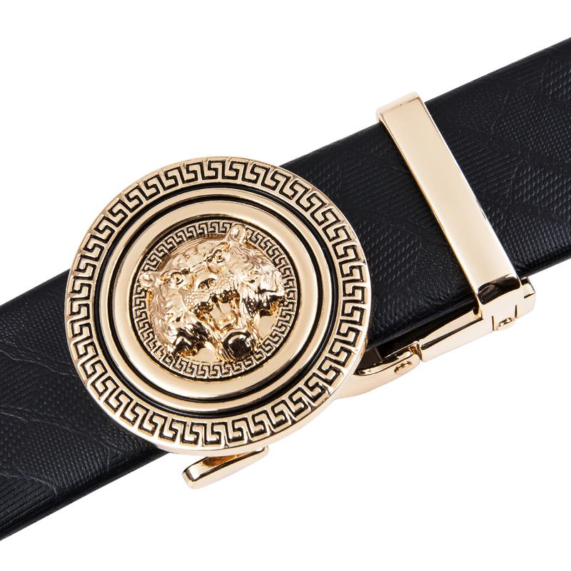 Fashion Automatic Buckle Black Leather Belt (4667739897937)