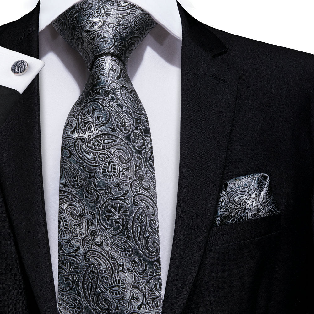 Load image into Gallery viewer, Grey Paisley Tie Set