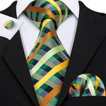 Mint Green Plaid Tie Pocket Square Cufflinks Set