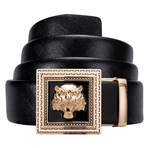 Load image into Gallery viewer, Fashion Individuality Automatic Buckle Black Leather Belt (4667740848209)