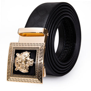 Fashion Individuality Automatic Buckle Black Leather Belt