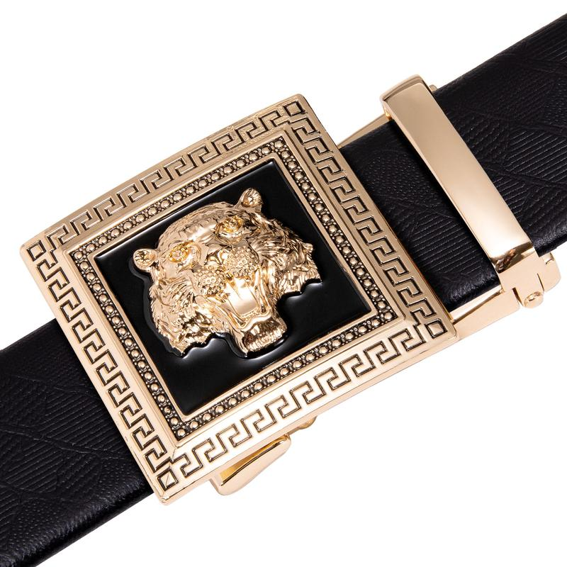 Fashion Individuality Automatic Buckle Black Leather Belt (4667740848209)